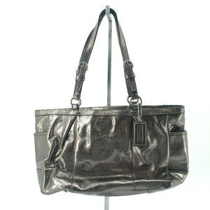 Coach Womens Medium Top Zip Tote Bag Bronze Metall
